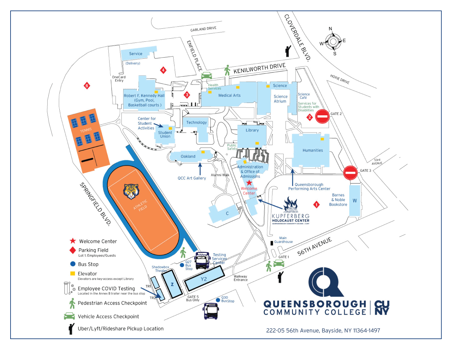 map of Queensborough Community College's campus showing building locations, parking and cultural centers