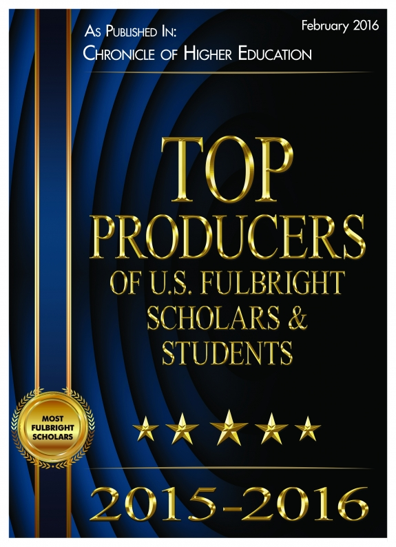 Top Producers of U.S. Fulbright Scholars and Students of 2016 as published in Chronicle of Higher Education
