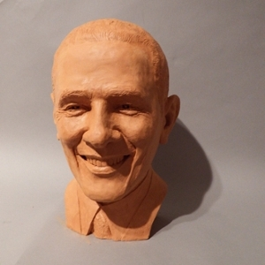Sculptured bust of President Obama as part of the P.O.T.U.S. exhibit